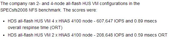 HDS SPECbench summary