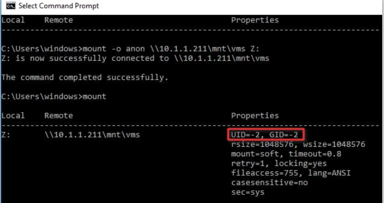 Windows 10 NFS Client Mount