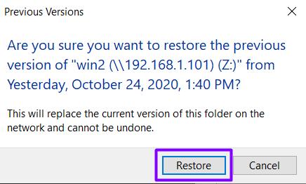 Restore pop-up