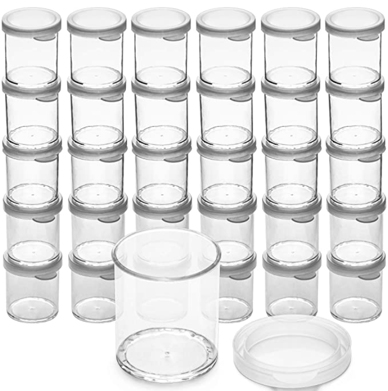 Clear, empty storage containers